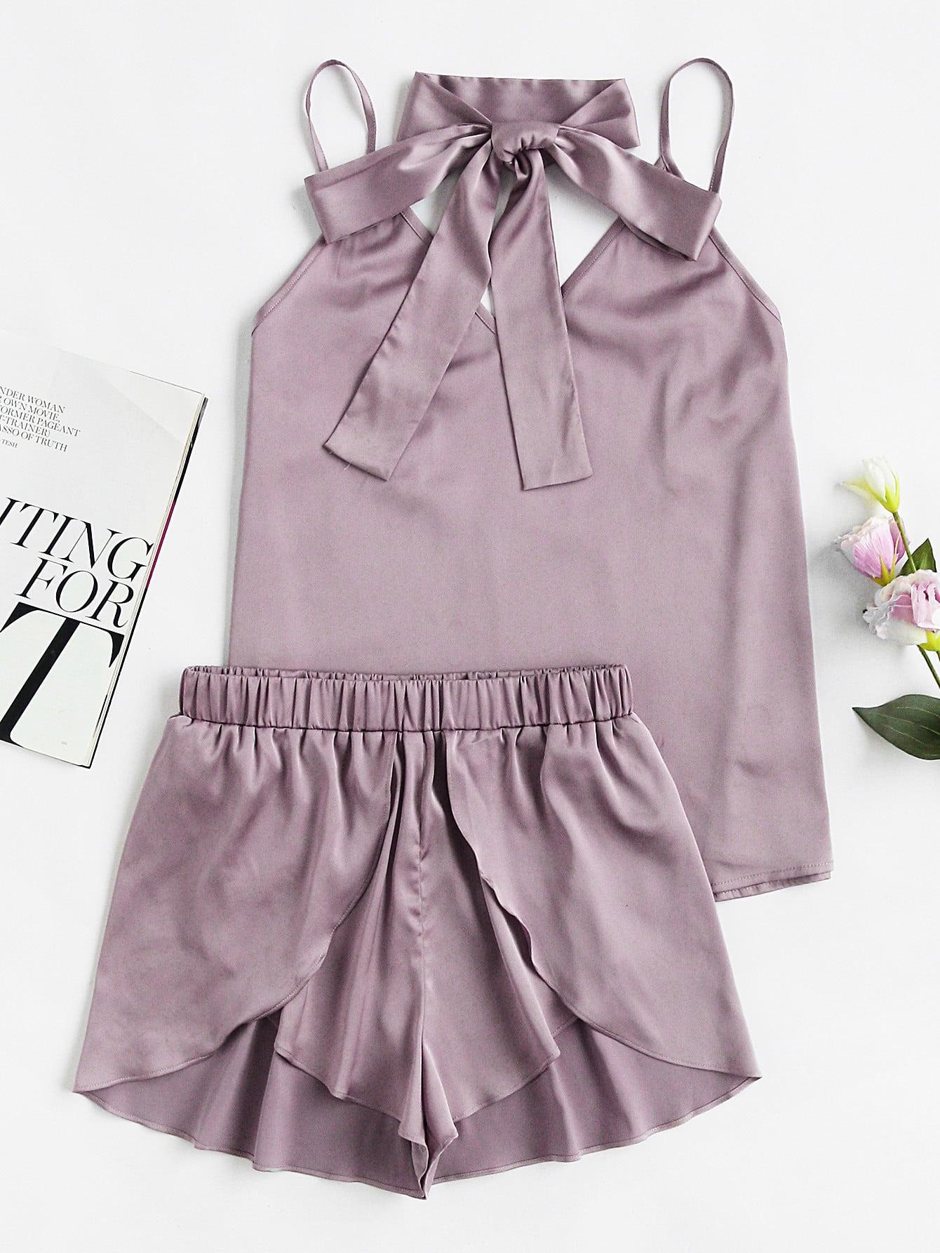 Neck Tie Detail Cami And Wrap Shorts Pajama Set