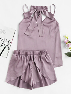 Neck Tie Detail Cami And Wrap Shorts Pajama Set