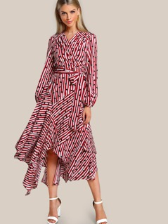 Lips Striped Wrap Dress WHITE RED