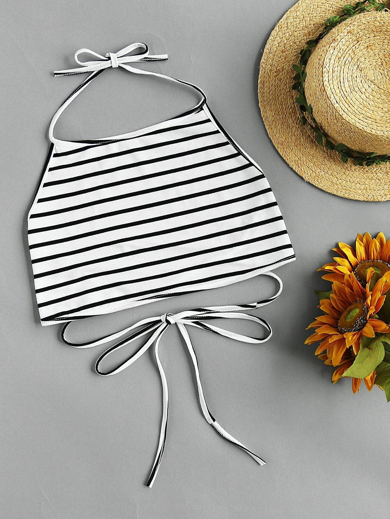 Halterneck Striped Lace-up Self Tie Top RVES170622102