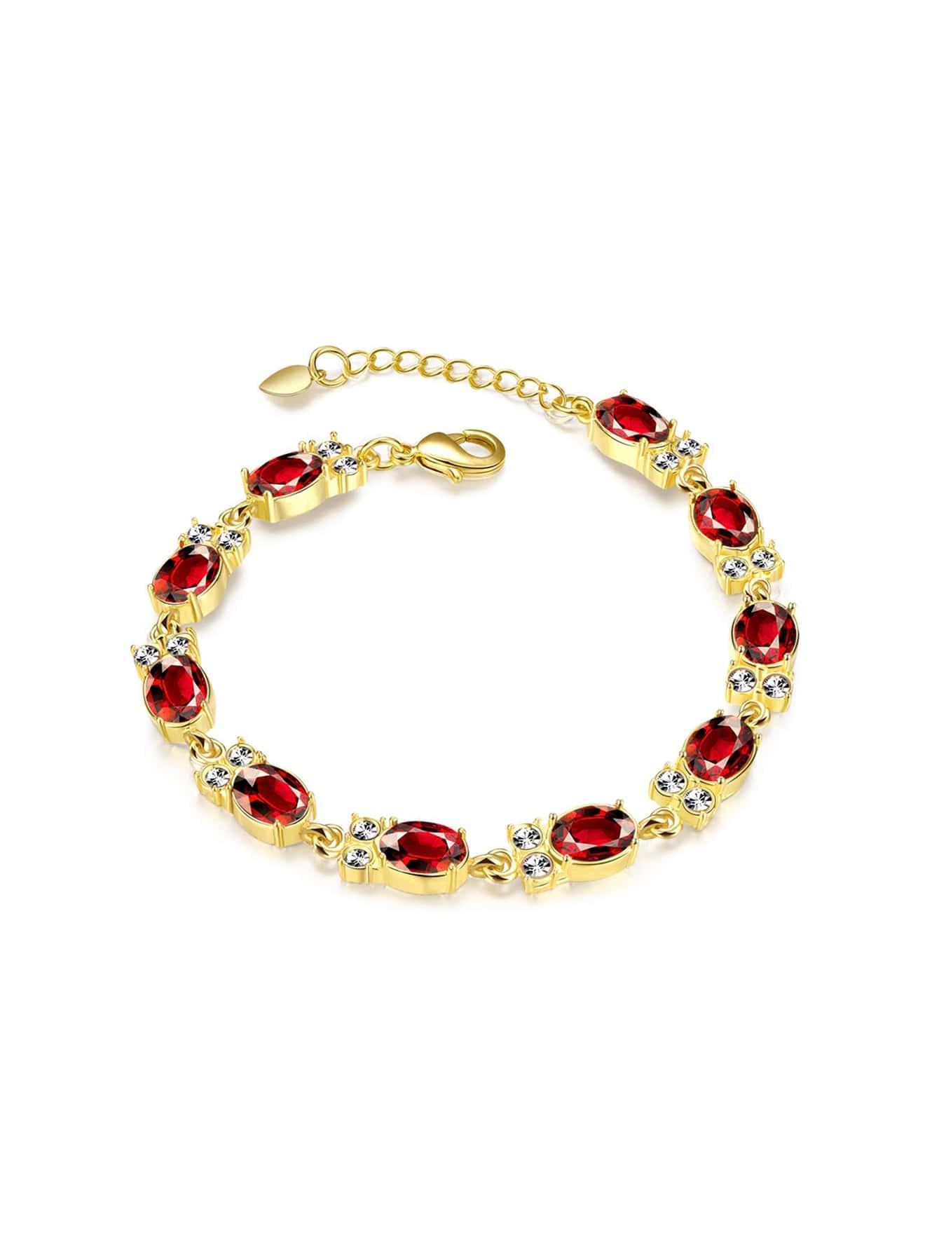 Фото Contrast Chain Bracelet With Crystal. Купить с доставкой