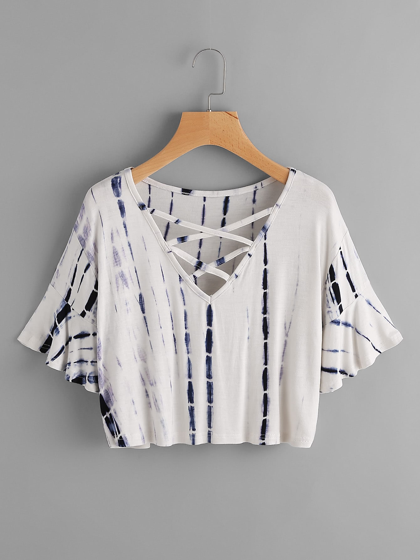 Flute Sleeve Water Color Criss Cross Tee
