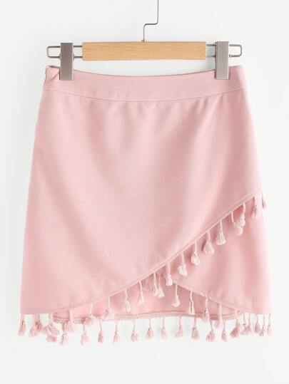 Tassel Trim Overlap Skirt