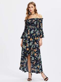 Smocked Bodice Trumpet Sleeve Overlap Bardot Dress