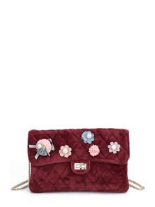 Flower Embellished Twist Lock Quilted Bag