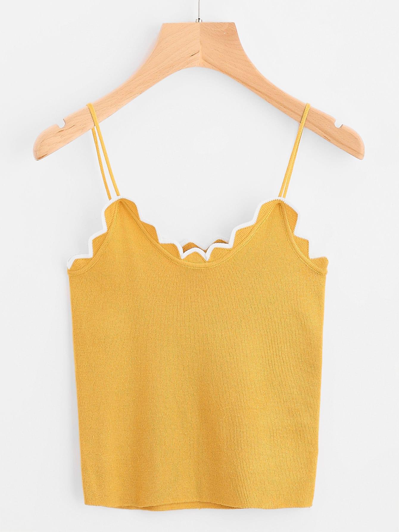 Фото Contrast Scallop Trim Knit Cami Top. Купить с доставкой