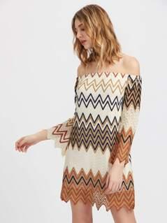 Off Shoulder Wave Print Dress