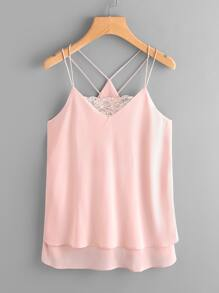 Strappy Lace Panel Layered Cami Top