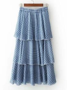Falda de cuadros con cintura elástica