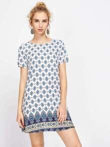 Ornate Print Swing Dress