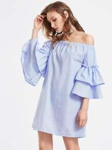 Bardot Tiered Flute Sleeve Pinstriped Dress