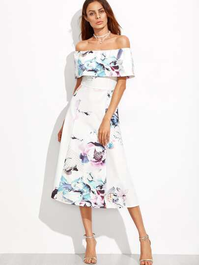 Floral Fold Over Bardot Circle Dress