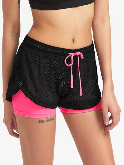 Active 2 In 1 Dolphin Hem Gym Shorts