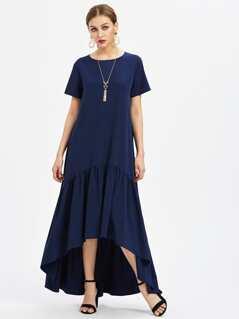 Flounce Trim Dip Hem Dress