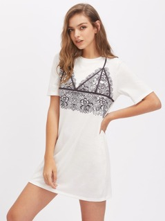 Lace Bralette Print Tee Dress