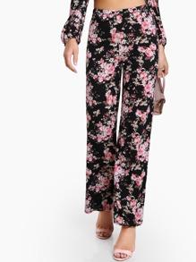 Floral Print Flowy Pants BLACK