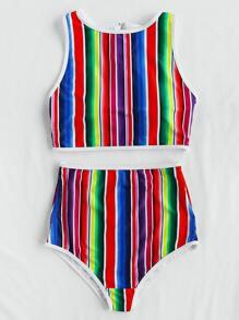 Roman Stripe Print Bikini Set