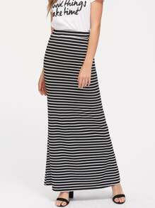 Slant Pocket Detail Striped Jersey Skirt