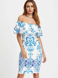 Layered Flounce Bardot Neck Damask Print Dress