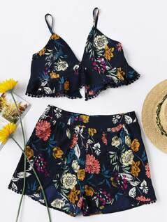V-Neckline Floral Cami Top With Shorts