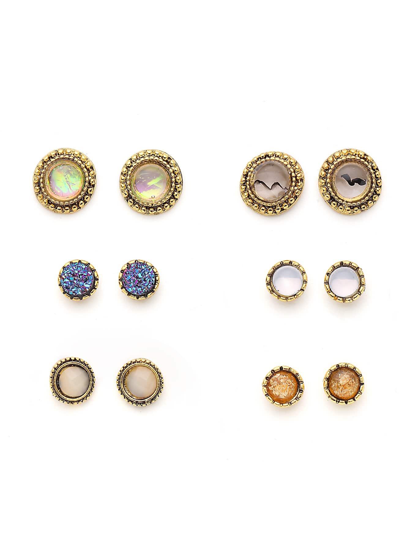 Фото Gemstone Round Shaped Stud Earring Set. Купить с доставкой