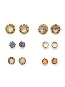 Gemstone Round Shaped Stud Earring Set