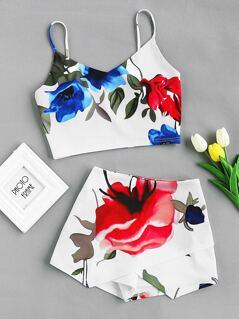Flower Print Crop Cami And Overlap Skort Set