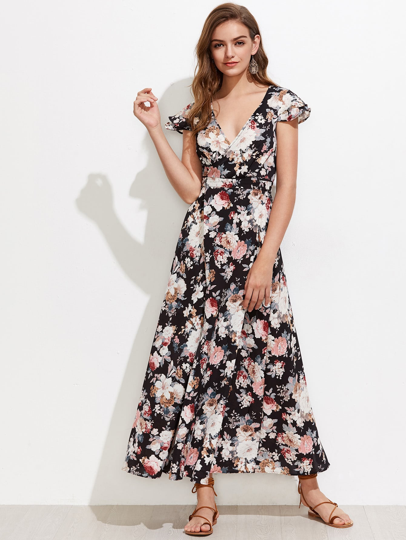 Allover Florals Tiered Cap Sleeve Open Back Dress