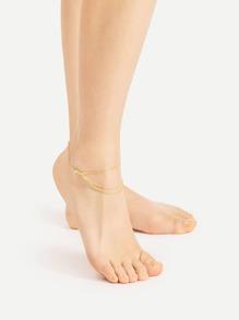 Rhinestone Detail Chain Anklet