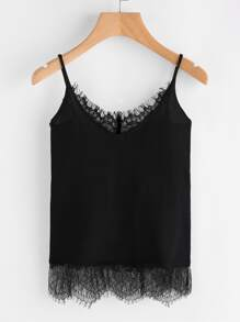 Eyelash Lace Trim Jersey Cami Top