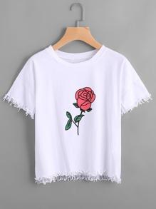 T-Shirt mit Rosemuster und Fransen