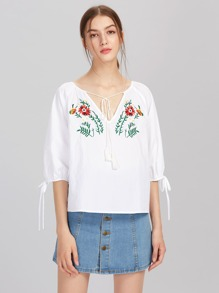 Tasseled Tie V Notch Front Lantern Sleeve Embroidered Top