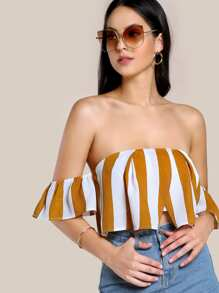 Striped Crop Overlap Bardot Top