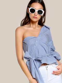 Single SHoulder Stripe Print Top BLUE