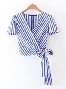 Surplice Front Knot Detail Top