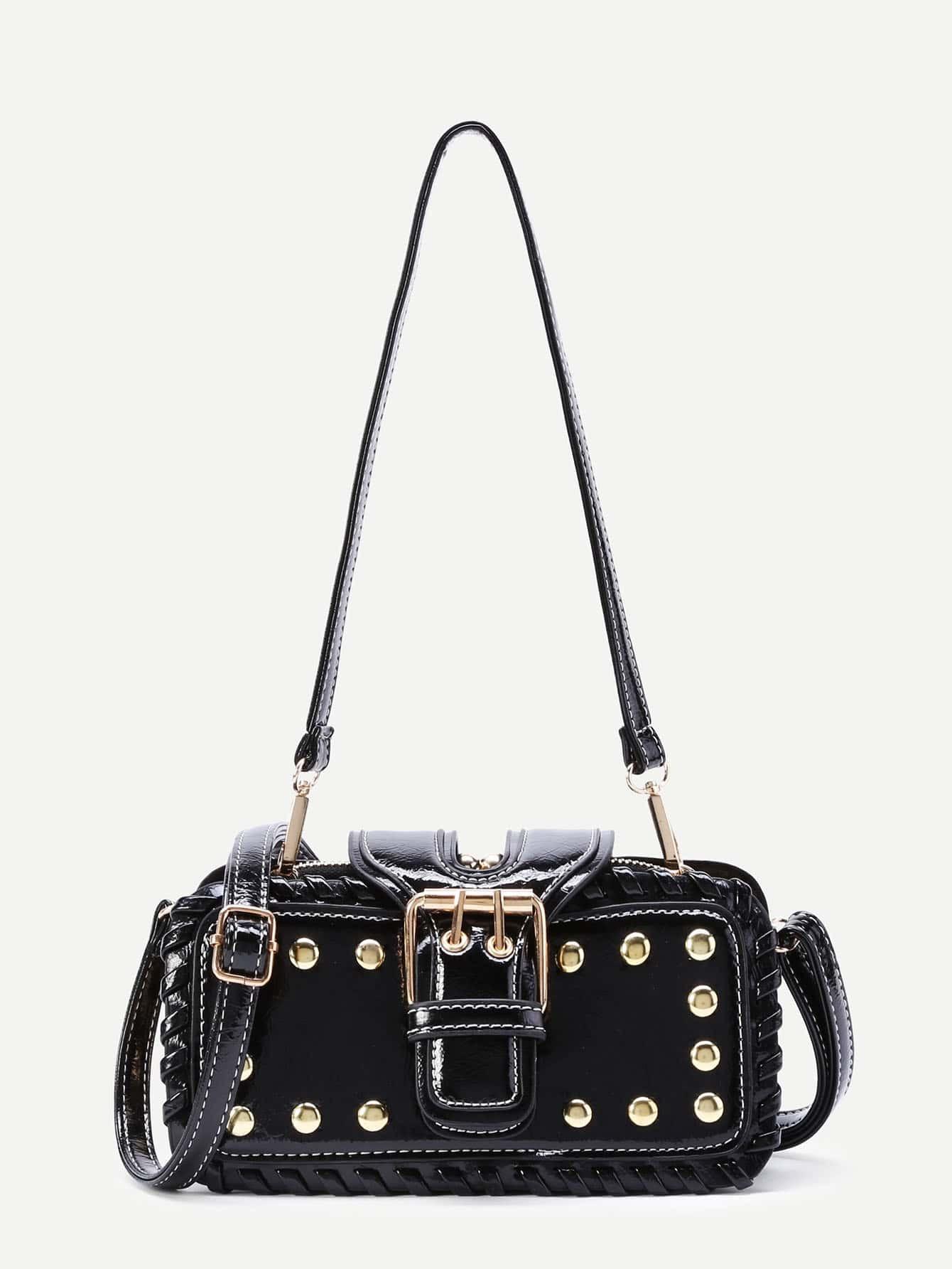 Фото Studded Design PU Bag With Convertible Strap. Купить с доставкой