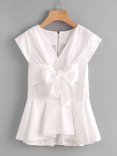 Bow Front Box Pleated Peplum Shell Top