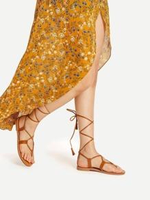 Criss Cross Lace Up Flat Sandals