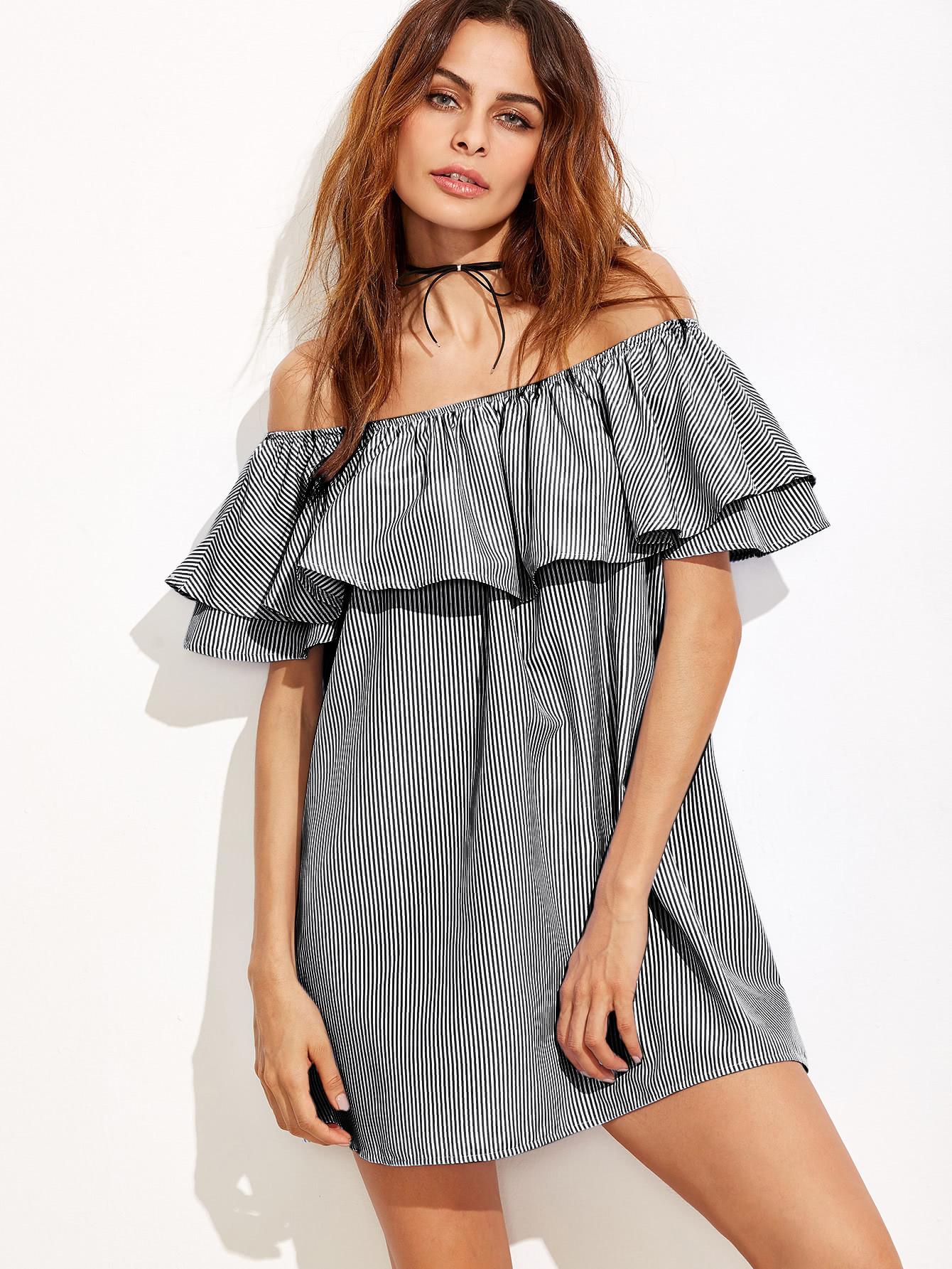Flounce Layered Vertical Striped Bardot Dress