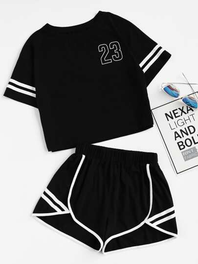Crop T-Shirt und Shorts Set mit Notch
