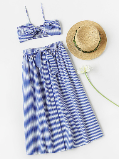 Knot Front Smocked Bralet And Skirt Co-Ord