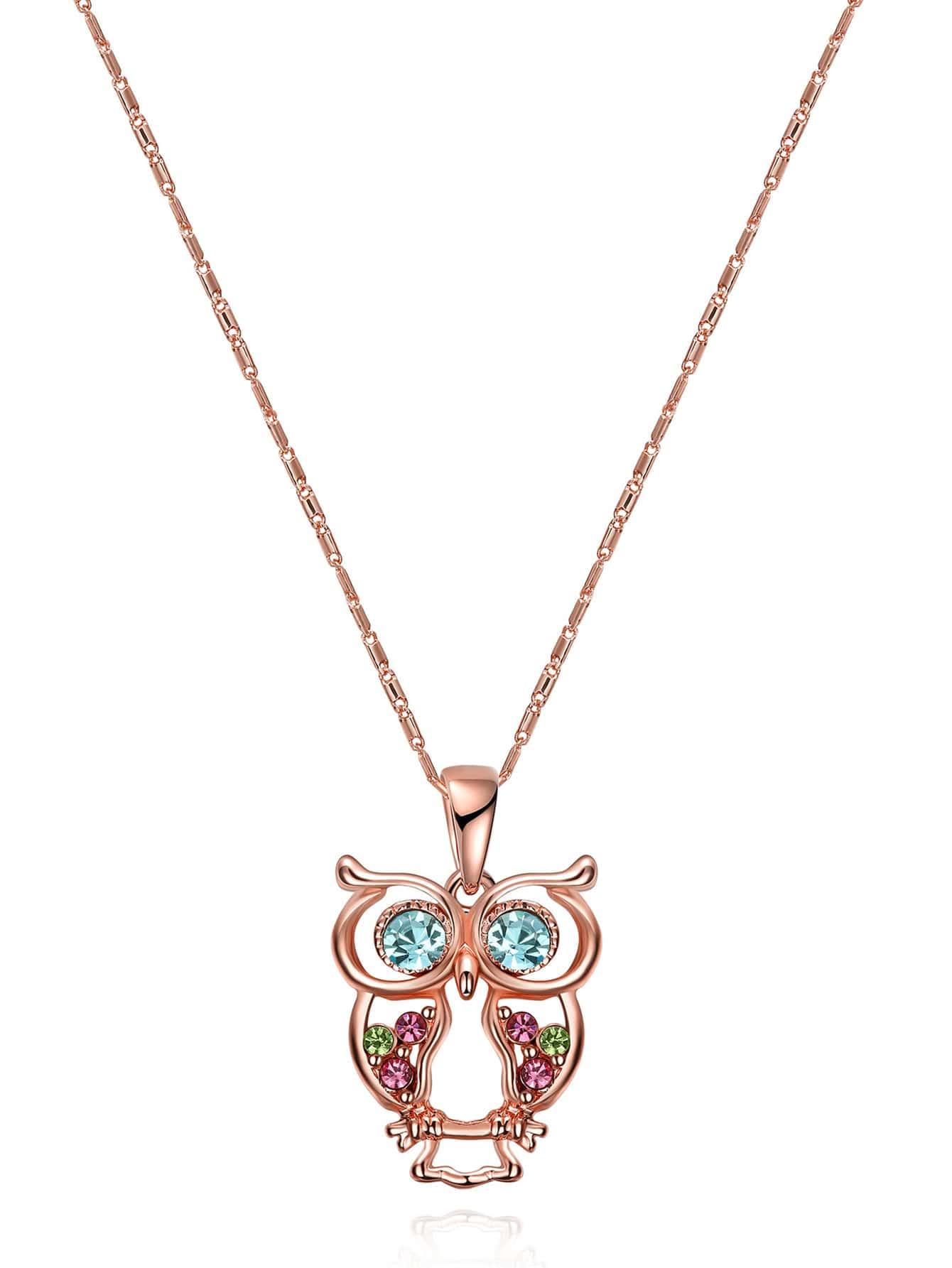 Фото Rhinestone Owl Shaped Pendant Chain Necklace. Купить с доставкой