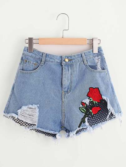 Rose Embroidered Applique Contrast Fishnet Ripped Shorts