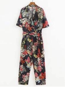 Floral Print Jumpsuit With Self Tie