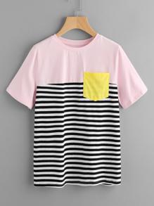 Mixed Cut And Sew T-shirt
