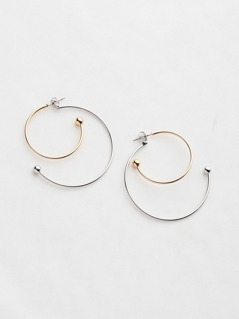 Two Tone Half Circle Hoop Earrings