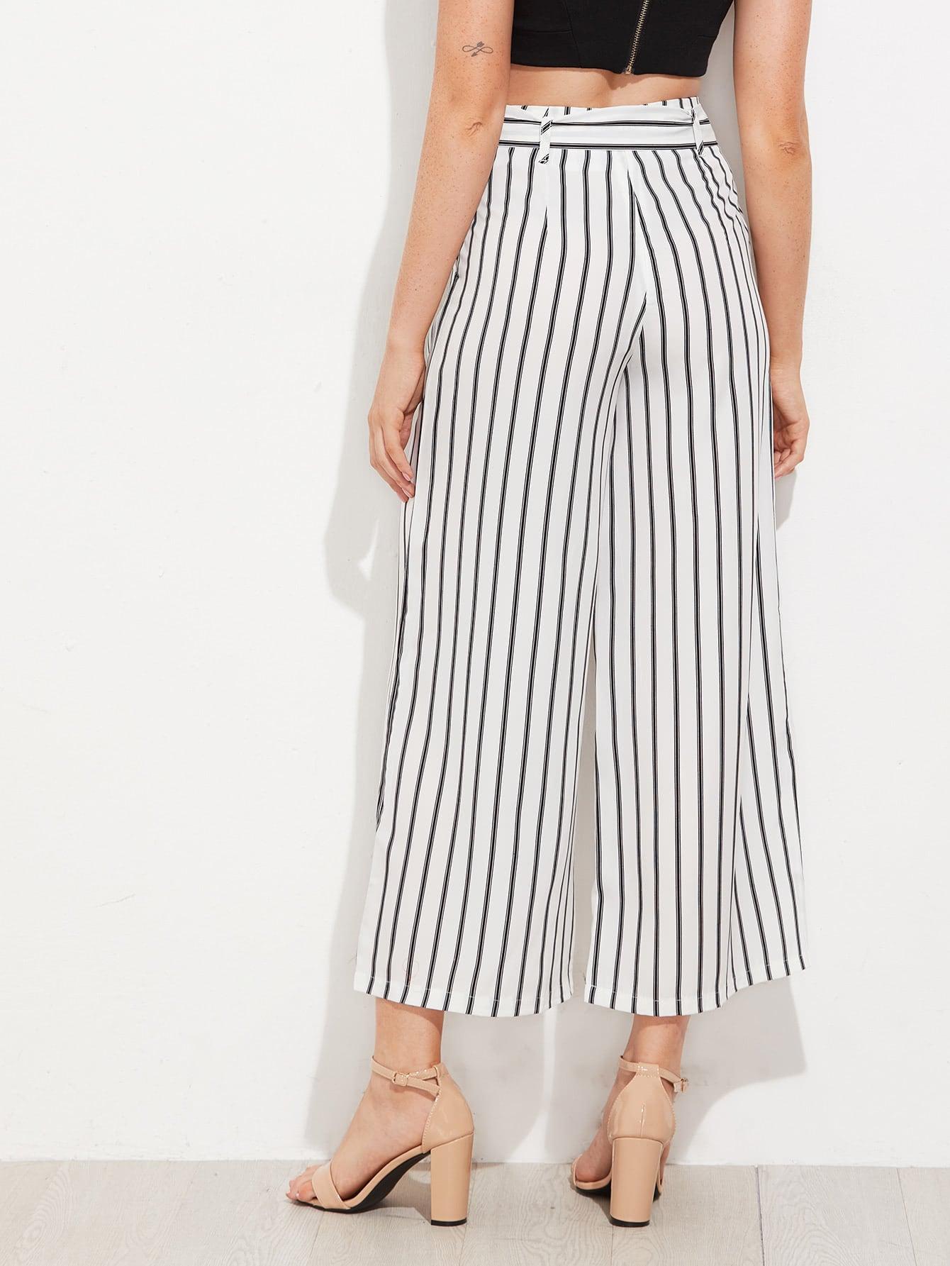 pantalon 3 4 taille haute avec ceinture et rayures blanc. Black Bedroom Furniture Sets. Home Design Ideas