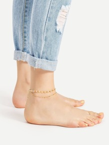 Crystal Beaded Embellished Layered Anklet