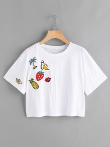 Lovely Patch Detail Crop Slub Tee