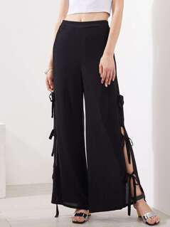 Split Tie Side Wide Leg Pants